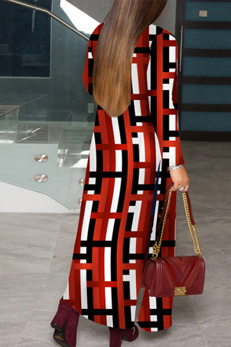 Red Casual Polyester Print Outerwear
