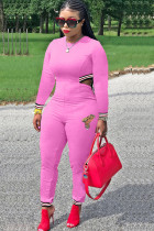 Pink Casual Solid Polyester Long Sleeve O Neck Jumpsuits TH117026