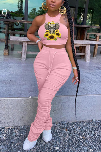 Pink Polyester Fashion adult Ma'am Street Print Draped Two Piece Suits Straight Sleeveless Two Pieces