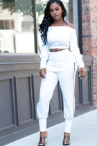 White Polyester Sexy Two Piece Suits Solid pencil Long Sleeve HM93195