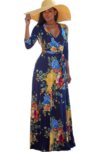 multicolor Polyester Sexy Fashion Ma'am adult Cap Sleeve 3/4 Length Sleeves V Neck Swagger Floor-Length Print Patchwork Maxi Dresses SMR391470