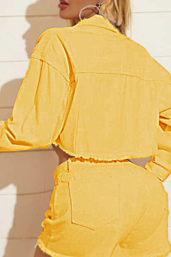 gingerish Turndown Collar Solid The cowboy Pure Long Sleeve Outerwear