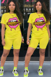 Yellow venetian Fashion Casual adult Ma'am Print Two Piece Suits pencil Short Sleeve Two Pieces