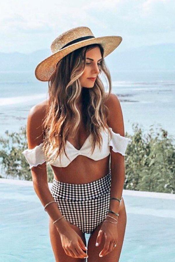 White Polyester backless Asymmetrical crop top stringy selvedge Sexy Fashion Tankinis Set CS861293