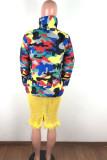 Yellow Turtleneck Camouflage Print Zippered Patchwork Spandex Print Long Sleeve Blazer & Suits &Jacket