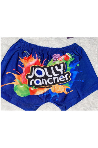 Blue Polyester Elastic Fly High Print pencil shorts BOTTOMS