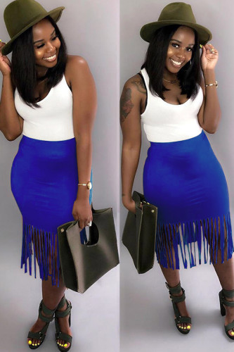 Blue Cotton Elastic Fly Mid Solid Patchwork Tassel Hip skirt Capris Skirts WN501280