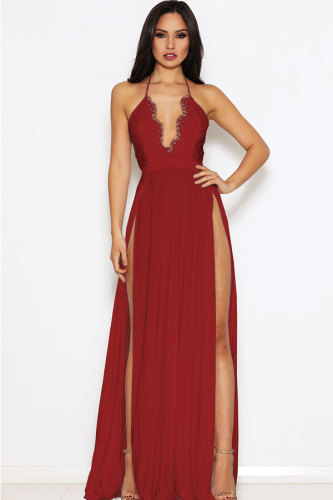 Black Polyester Sexy Fashion Spaghetti Strap Sleeveless Slip A-Line Floor-Length chain lace Patchwork backless ZS571189