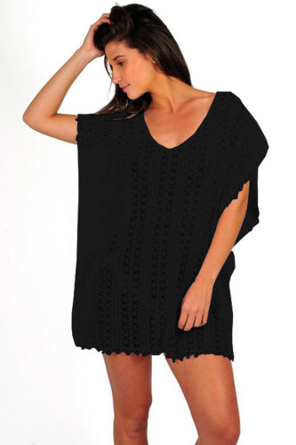 Black Polyester Hooded Out Solid Patchwork Fashion adult Sexy Cover-Ups & Beach Dresses HF123077