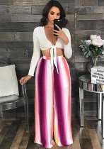 As Show Casual Striped Wide Leg Pants Midweight Pants