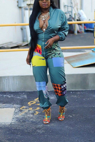 Green street Print Polyester Long Sleeve V Neck Jumpsuits