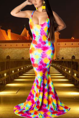 Green Polyester Europe and America Spaghetti Strap Sleeveless O neck Swagger Floor-Length Print Tie and dye Dresses