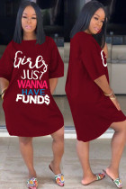 Wine Red Cotton Fashion Sexy adult Ma'am Black Wine Red Dark Blue Cap Sleeve Short Sleeves O neck A leaf skirt skirt Print Dresses