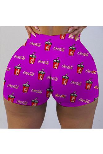 purple Milk Silk Elastic Fly Mid Print Skinny shorts BOTTOMS