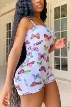 White Fashion street Print Polyester Sleeveless Slip Jumpsuits