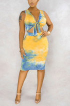 Yellow Polyester Fashion adult Street Patchwork Solid Tie Dye Bandage Two Piece Suits pencil Sleeveless Two Pieces
