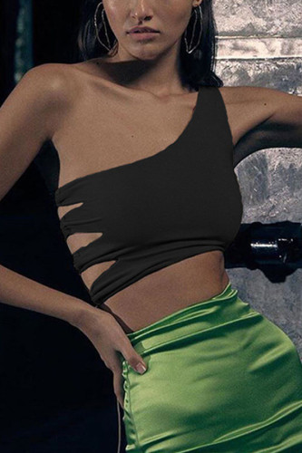 White Polyester One Shoulder Collar Sleeveless Solid backless TOPS