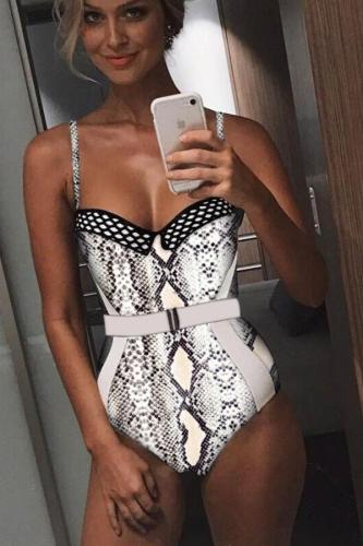 serpentine Polyester backless Leopard Patchwork Hooded Out Dot Sexy Fashion One-Piece Swimwear CS861296