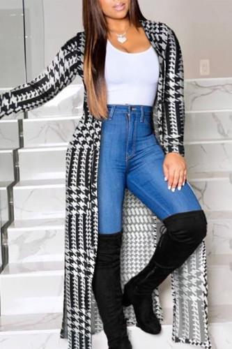 Black Work Daily Polyester Plaid Print Outerwear