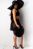 Black Polyester A three-piece Solid Asymmetrical Fashion adult Sexy YY51089