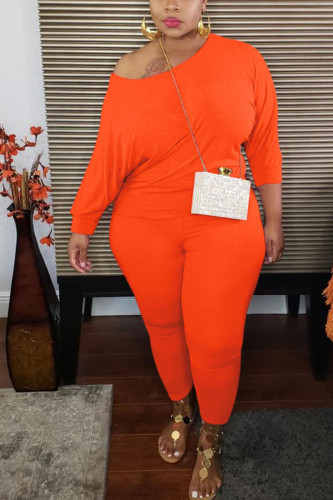 Orange Fashion Sexy Adult Ma'am Cotton Solid Two Piece Suits Stitching O Neck Plus Size
