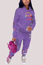 purple Fashion Casual Adult Polyester Print Split Joint Hooded Collar Long Sleeve Regular Sleeve Regular Two Pieces