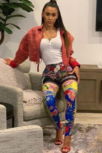 multicolor Polyester Elastic Fly Mid Print Skinny Pants Leggings LZ121367
