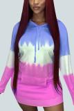 Pink Sexy Cotton Gradual Change Print Hooded Collar Long Sleeve Mini Pencil Skirt Dresses