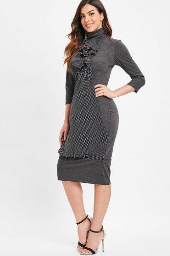 Grey Fashion 3/4 Length Sleeves Turtleneck Slim Dress Knee-Length Polka Dot Vintage Dresses