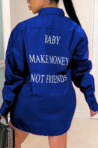 Blue Fashion Casual Adult Polyester Letter Print Letter Turndown Collar TOPS