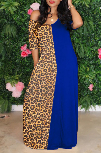 Blue Casual Short Sleeves V Neck Swagger Floor-Length Print Patchwork Leopard Dresses