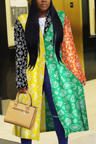 multicolor Fashion Celebrities Adult Polyester Patchwork Print Split Joint Turndown Collar Outerwear
