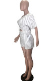 White Polyester Fashion adult Ma'am OL Striped Two Piece Suits Straight Short Sleeve Two Pieces