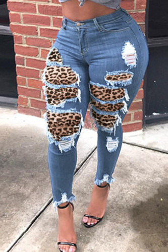 Blue Fashion Street Adult Patchwork Leopard Split Joint Mid Waist Skinny Denim