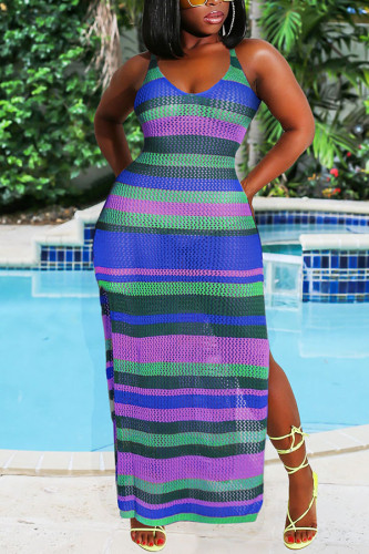 Blue Arylic Striped perspective Hooded Out Fashion Sexy Swimwears