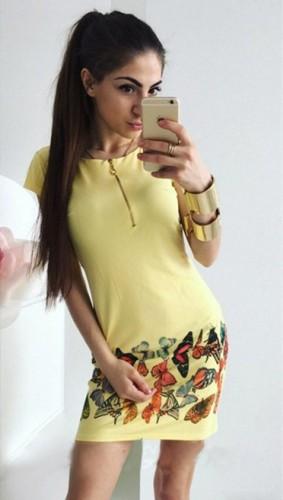 Yellow Brief O-Neck Short short skirts Print Dresses