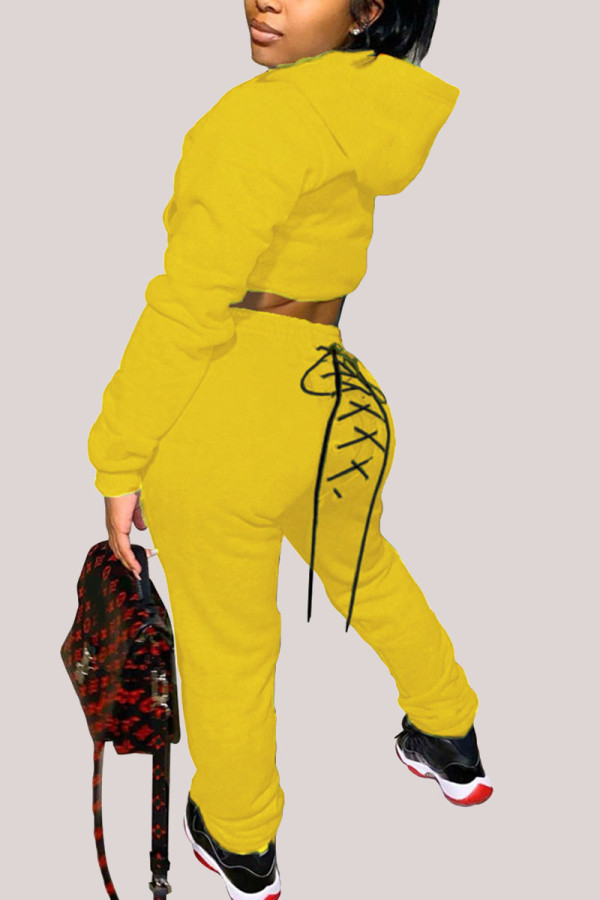 Yellow Fashion Street Adult Polyester Solid Bandage Hooded Collar Long Sleeve Regular Sleeve Regular Two Pieces
