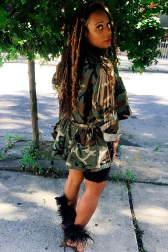 Camouflage Polyester adult Fashion Sexy Turndown Collar Camouflage Button Plus Size overcoat OH56048