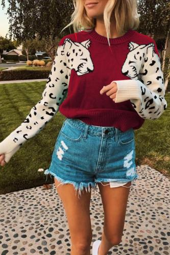 Green Polyester O Neck Long Sleeve Patchwork Animal Prints Solid WN501292