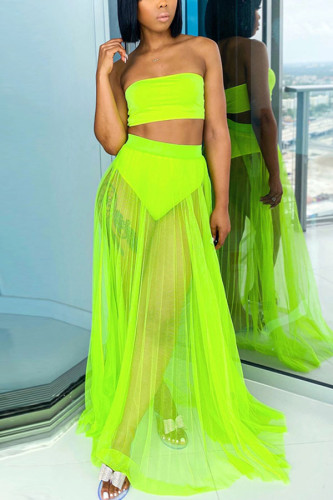 Fluorescent green Polyester Fashion Sexy adult Ma'am Wrapped chest Solid Mesh Two Piece Suits Stitching Plus Size