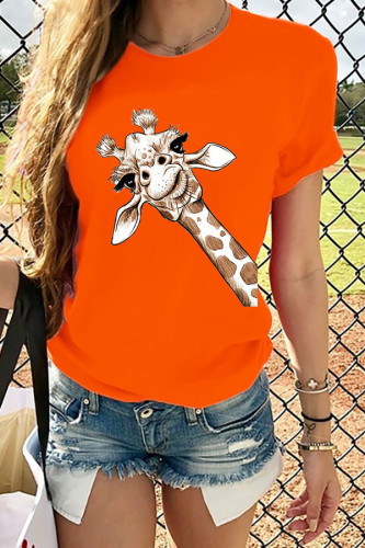 Orange White Black Grey Orange Navy Blue Cotton O Neck Short Sleeve Animal Prints Print TOPS