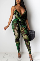 Dark green Fashion Casual Print Mesh Network Sleeveless V Neck Jumpsuits