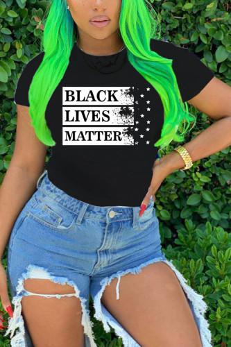 Black Polyester O Neck Short Sleeve Print TOPS