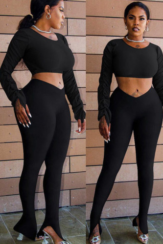 Black venetian Fashion Casual adult Ma'am Solid Two Piece Suits pencil Long Sleeve Two Pieces