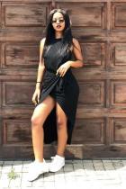 Black Polyester Fashion Casual Sexy Cap Sleeve Sleeveless O neck Asymmetrical Mid-Calf Draped Solid split asymmetrical Casual Dresses MR061172