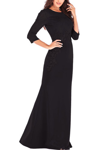 Black Fashion Long Sleeves O neck Slim Dress Floor-Length Patchwork Party and Cocktail Dresses LR17856