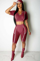 watermelon red Polyester Fashion Sexy Mesh HOLLOWED OUT Fluorescent perspective Patchwork pencil Two-Piece Short Set FN231211