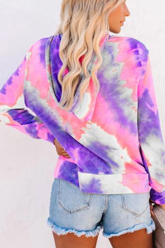 fuchsia Polyester cardigan Long Sleeve Print Tie Dye Gradient TOPS
