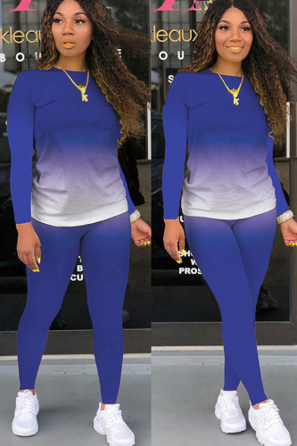 Blue Polyester Fashion Casual adult Ma'am Solid Gradient Two Piece Suits pencil Long Sleeve Two Pieces