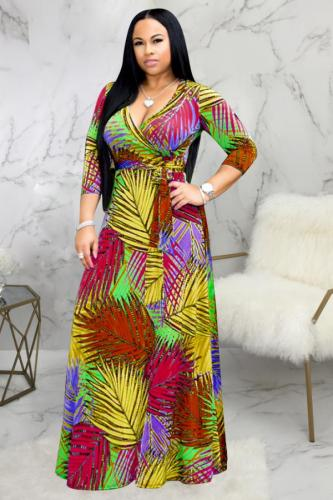 Yellow Polyester Fashion Sexy Cap Sleeve 3/4 Length Sleeves V Neck A-Line Ankle-Length Patchwork Print